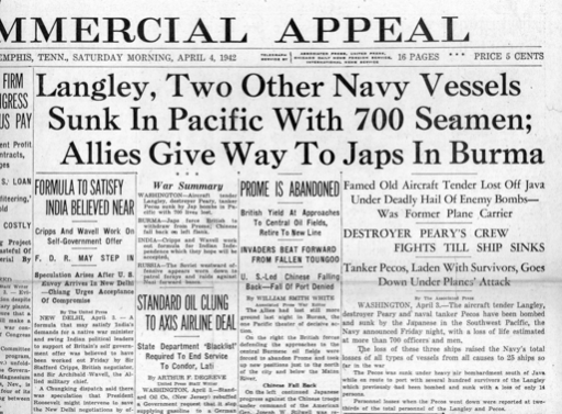 Pearl Harbor - 2 Days Later, newspaper account of Langley sinking