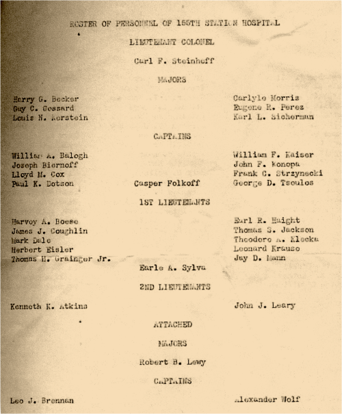 Christmas Day, 1942 Page 1 Roster of 155th SH