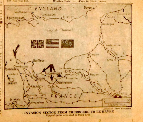 WWI and WWII - D-Day invasion map