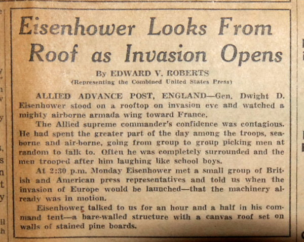WWI and WWII - Eisenhower watches as D-Day invasion starts