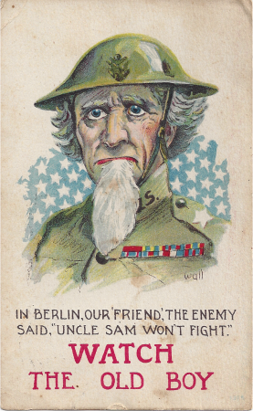 WWI and WWII - the US enters the war postcard for WWI