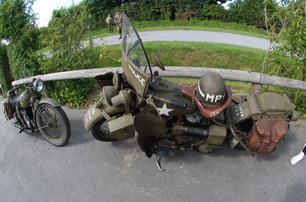 WWII motor bike and cycle, D-Day, 2014