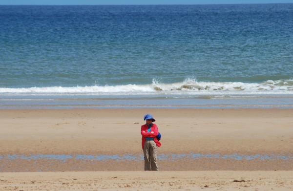 D-Day, 2014, Cindy on Omaha Beach