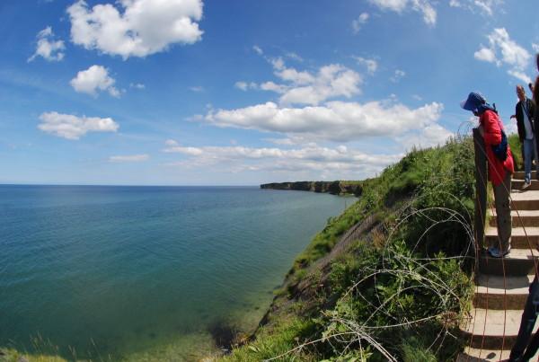 D-Day, 2014;  the cliffs at Pointe-du-Hoc.