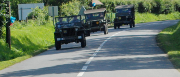 D-Day, 2014; a convoy of WWII jeeps