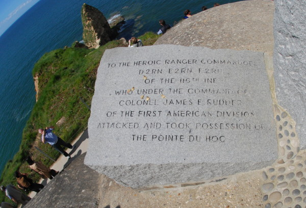 D-Day, 2014; memorial to U. S. Army Rangers of the 2nd Ranger Battalion