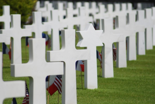 Crosses and a Star of David at the American Cemetery, D-Day, 2014