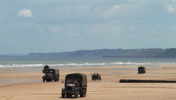 WWII U. S. ARmy vehicles on Omaha Beach, D-Day, 2014
