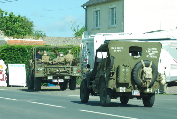 Two WWII jeeps, D-Day, 2014