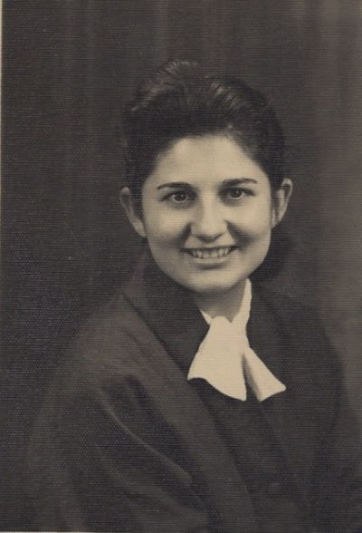 Nunzia wearing her choir robe. (I think)